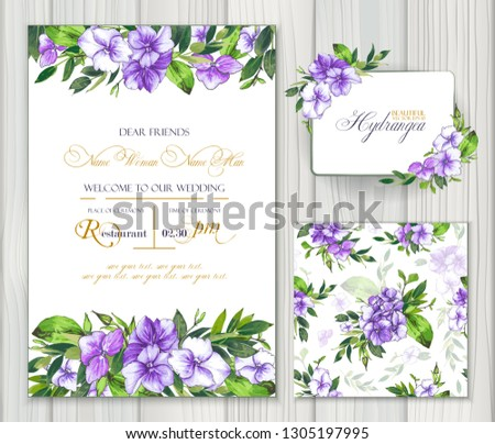 Set of vector templates for greetings or invitations to the wedding and one seamless pattern with purple hydrangea. Invitation card, frame and floral elements for creative own design. #1305197995