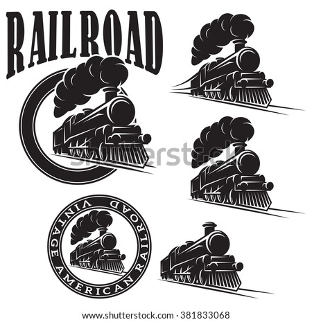 Shutterstock set of vector templates with a locomotive, vintage train