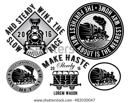 set of vector templates with retro locomotive, wagon, vintage train, logotype, illustration to topic railroad