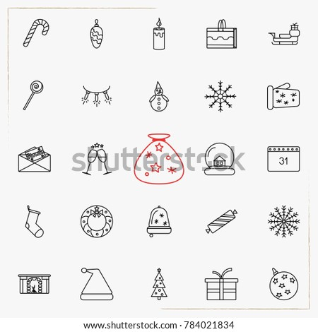 Set of vector thin line icons for Christmas and New Year holidays.