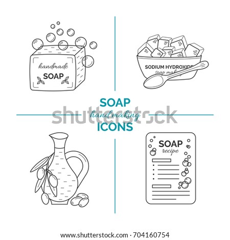 Set of vector thin line icons of handmade soap production. Concept of home soap bar making hobby with stages, equipment and ingredients for organic and natural cosmetics manufacturing.