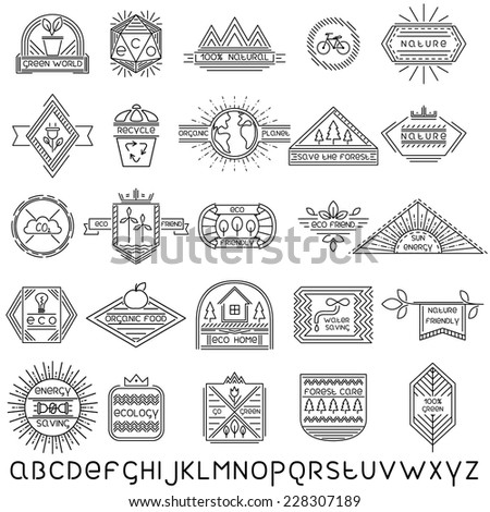 Set of 25 vector thin linear ecology labels and linear font