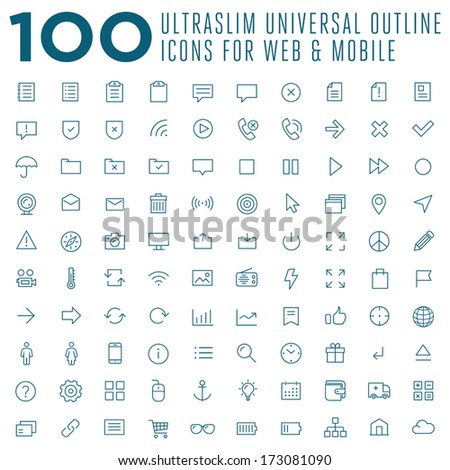 Set of 100 vector thin outline trendy icons for web and mobile