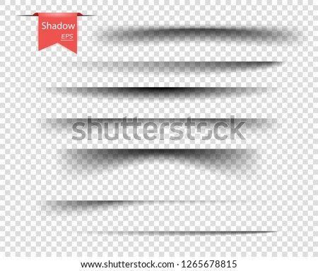 Set of vector transparent overlay shadows. Realistic design elements on an isolated transparent background for your design.
