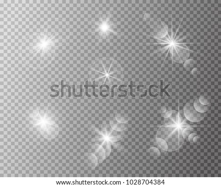 set of vector transparent sun