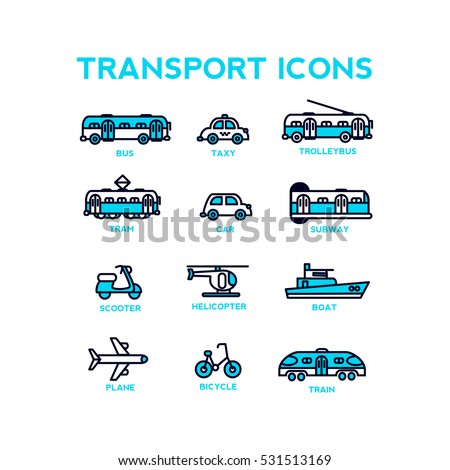 Set of vector transport icons.