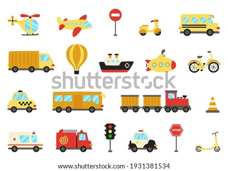 Set of vector transportation means in flat style. Collection of transport. Foto stock ©
