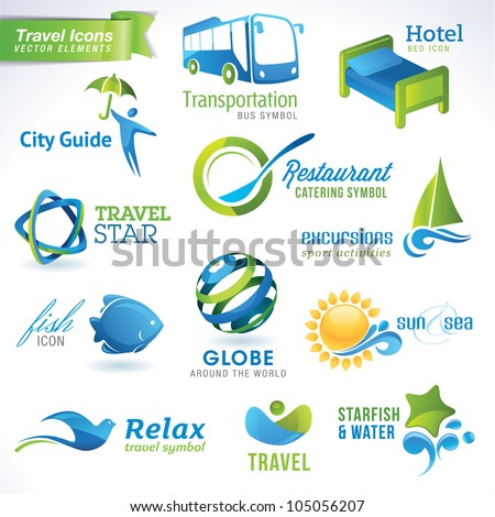 Set of vector travel icons
