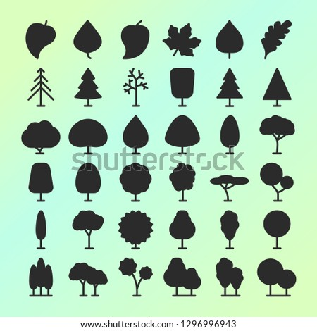 set of vector tree and leaf icons for garden, nature cosmetics, ecology company, naturally firm, natural product store, organic shop, alternative medicine, green unity, farming. 10 eps #1296996943