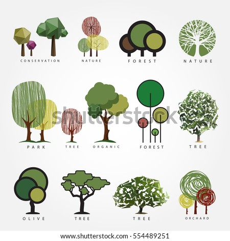 Set of vector tree illustration. Geometric, stylized, hand drawn and polygonal style tree illustrations, label, logo, icon, nature, eco, green, organic, outdoors design.