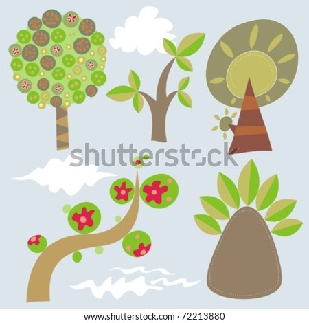 set of 5 vector trees