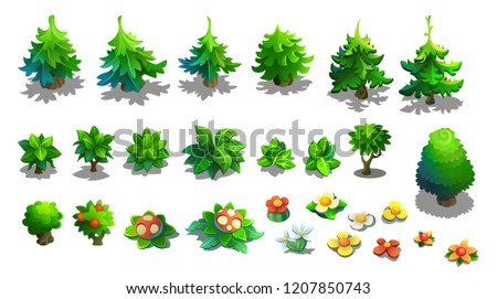 Set of vector trees, spruce, bushes and flowers. illustration isolated on white background.