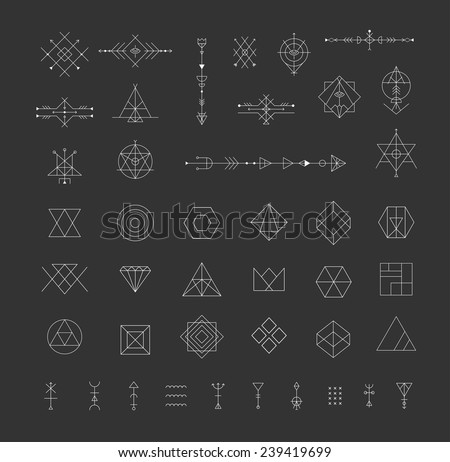 Set of vector trendy geometric icons. Alchemy symbols collection. Religion, philosophy, spirituality, occultism.