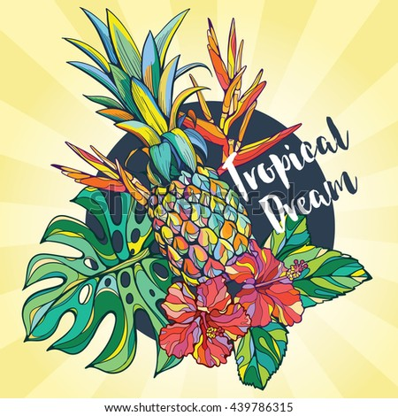 Set of vector tropical elements. Tropical vector background. All elements can be used separately