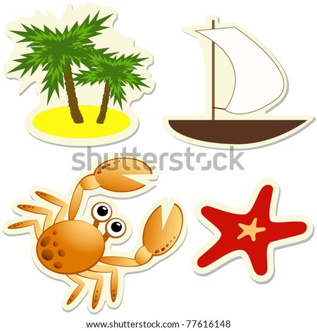 Set of vector tropical stickers. Illustration EPS8