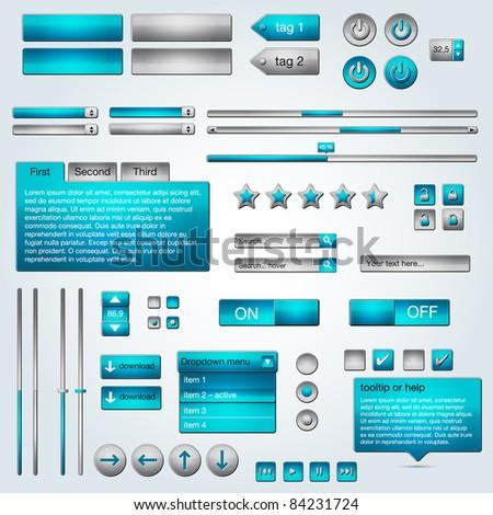 Set of vector ui azure/grey web elements