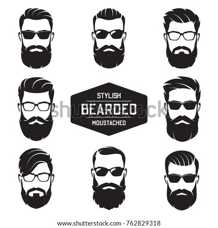 set of vector various bearded...