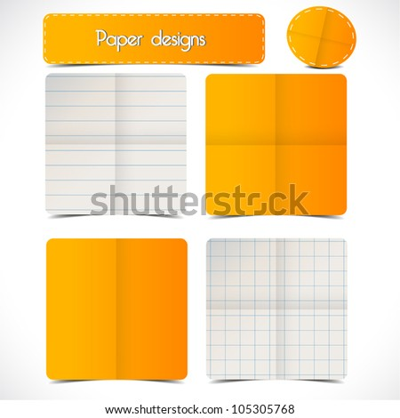 Set of vector various paper designs with shadow. Eps 10