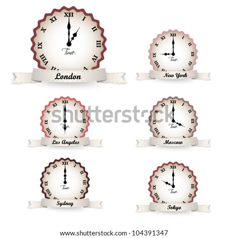 Set of vector vintage clocks  - time zones