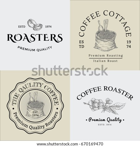 Set of Vector Vintage Coffee Logo and Illustration Drawing Engraving Icon 01, used as Logo or Icon in premium quality