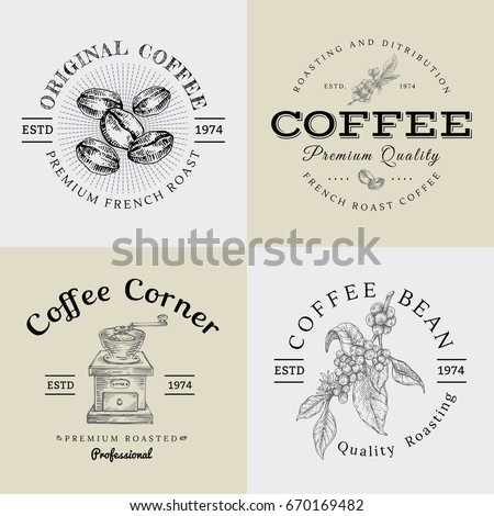 set of vector vintage coffee