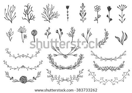 Wedding elements vector download free vector art stock graphics set of vector vintage floral elements decoration elements for design invitation wedding cards junglespirit Gallery