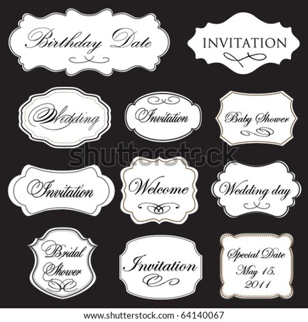 Set of vector vintage frames on black