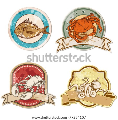 set of vector vintage labels with seafood