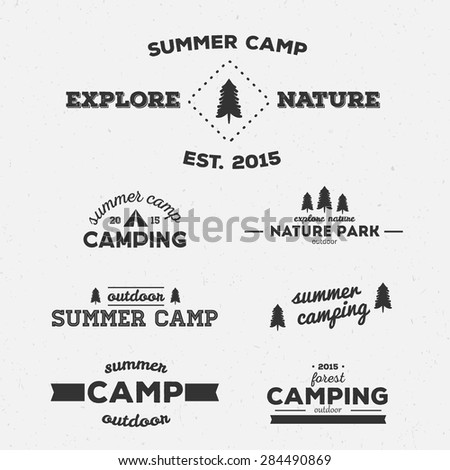 Set of vector vintage logos. Camping.