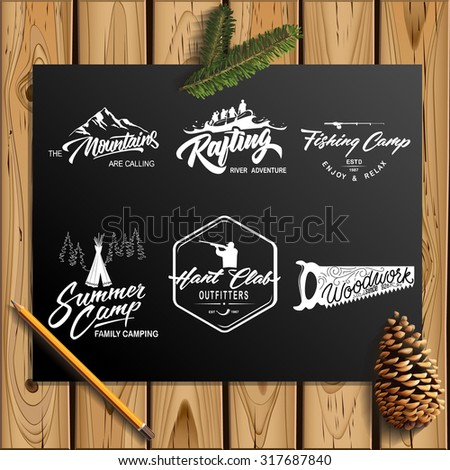 Set of vector vintage logotype with lettering elements on wood planks