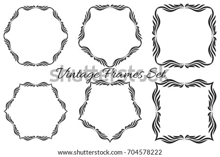 Set of vector vintage luxury frames.  Calligraphy ornamental decorative square frames.