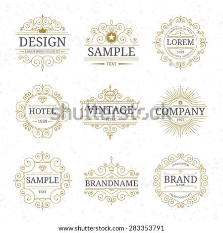 Set of vector vintage luxury logo templates with flourishes elegant calligraphic ornamental design elements