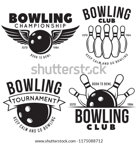 Set of vector vintage monochrome style bowling logo, icons and symbol. Bowling ball and bowling pins illustration. Trendy design elements, isolated on white background.