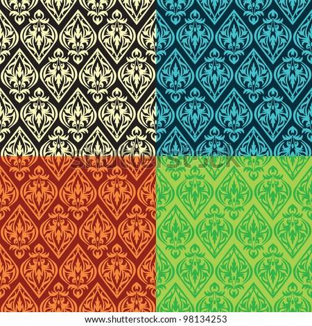 set of vector vintage seamless patterns