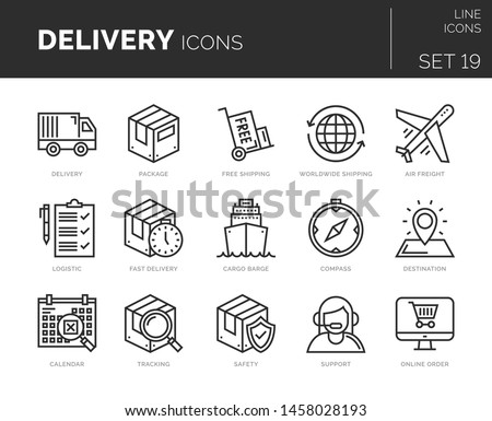 Set of vector virtual reality icons. Icons are in flat / line design with elements for mobile concepts and web apps. Collection of modern infographic logos and pictograms.