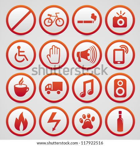 Set of vector warning signs with red icons