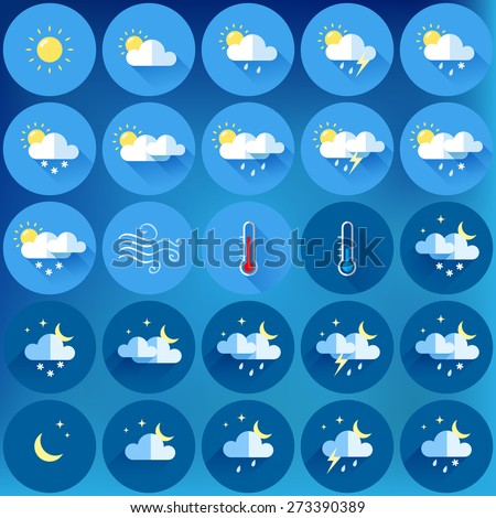 set of 25 vector weather icons