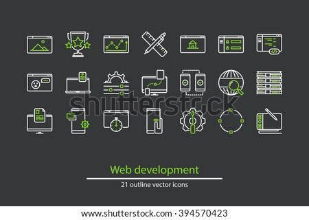 Set of vector web development line icons.