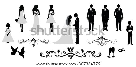 set of vector wedding