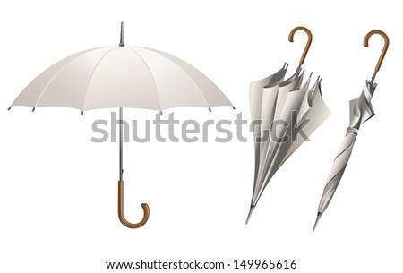 Set of vector white umbrellas