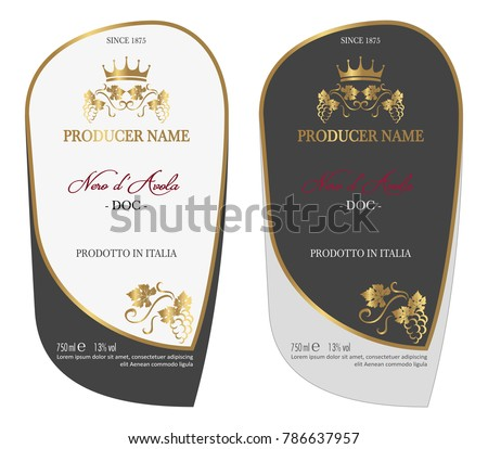 Set of Vector wine label for wine bottle or mockup with this label