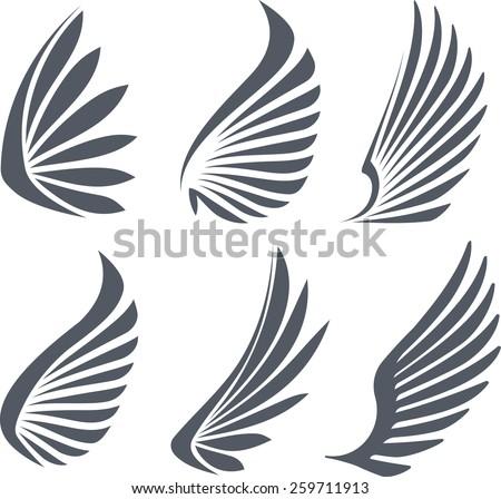 set of 6 vector wings