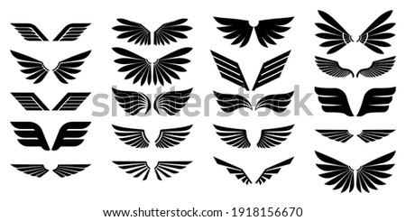 Set of vector wings. Wings icons. Isolated over white background.