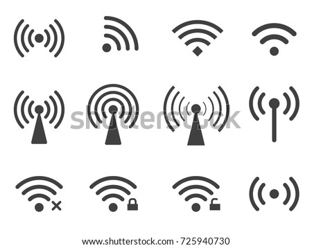 Set of vector wireless wifi icons isolated on white background