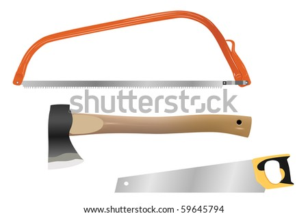 set of vector woodcutting tools