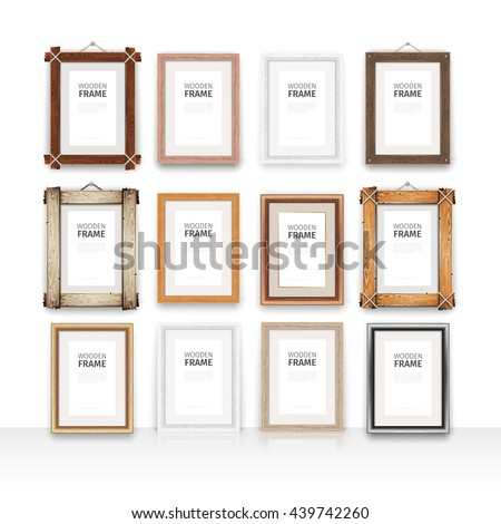 Set of 12 vector wooden rectangle mockups frames. Place your artwork inside the vertical frame. Clipping paths included.