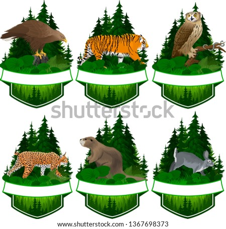 set of vector woodland emblems