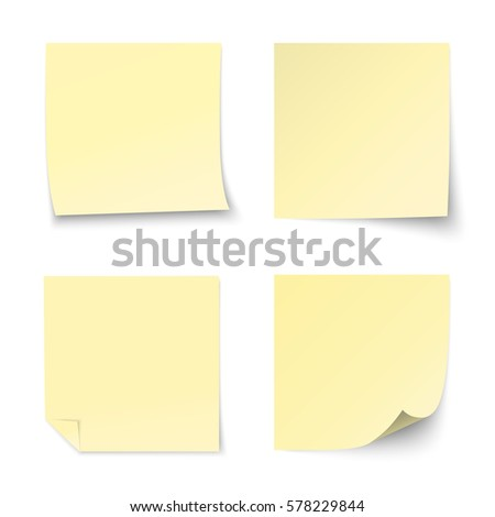 Set of vector yellow paper sticker on white background.
