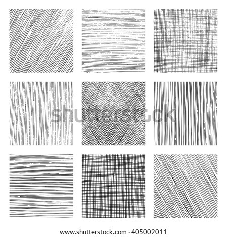 Set of vectors backgrounds created with different kind of hatchings. Textures created with vertical, horizontal or diagonal lines drawn with a black pen. Stockfoto ©