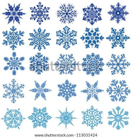 set of vectors snowflakes
